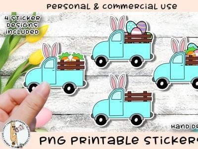Easter Truck Sticker Designs hand lettered sticker graphic illustraion ipad procreate