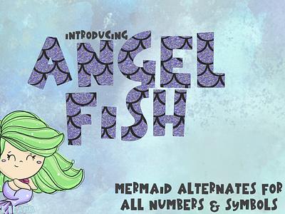 Angelfish Mermaid Font typogaphy scales mermaid font