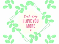 Valentine's day quote template with watercolor leaves