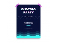 Abstract glitch party poster template