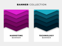 Origami banner collection with vibrant backgrounds