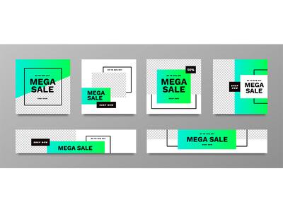 Mega sale banner collection set with vibrant colors