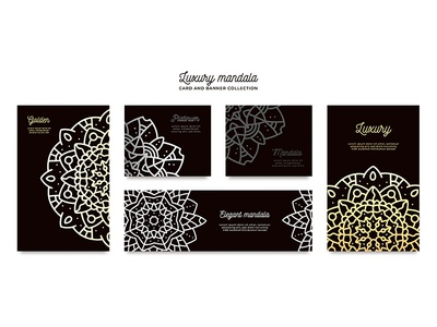 Luxury mandala card template collection
