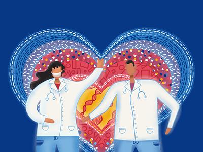 Valentine's Tribute to Medical Staff design procreate graphic dribbbleweeklywarmup vector valentine coronavirus illustration