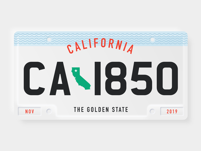 Weekly Warmup California License Plate vehicle warmup vector design graphic california plate weeklywarmup dribbbleweeklywarmup car license license plate