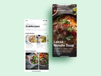 Weekly Warmup Grab Recipes Card grabfood food app food app design ui ux warmup weeklywarmup dribbbleweeklywarmup recipe app recipe