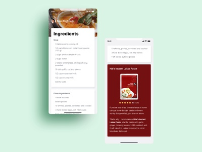 Weekly Warmup Grab Recipes Card recipe app recipe weeklywarmup dribbbleweeklywarmup warmup ux ui app design food food app grabfood