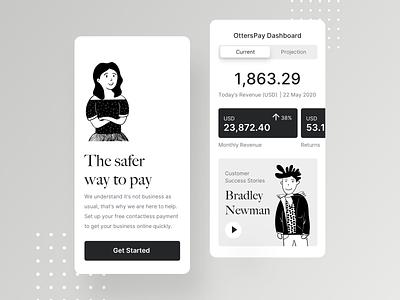 OttersPay Mobile App dashboard onboarding cashflow covid19 ux ui minimal illustration black application app