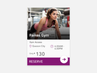 Gym Partners Reservation Card UI