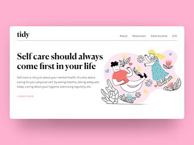 Hero Section with Self Care Illustration art branding illustration web design ux ui design