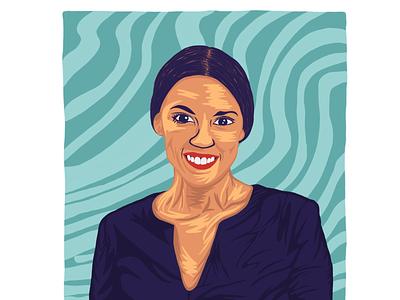 Green New Deal: Alexandria Ocasio-Cortez procreate art design illustration graphic portrait politics congresswoman alexandria ocasio-cortez