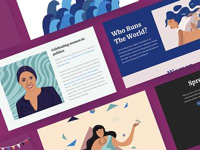 Who Run The World? women empowerment female internationalwomensday womens march womens day branding ux web design illustration design