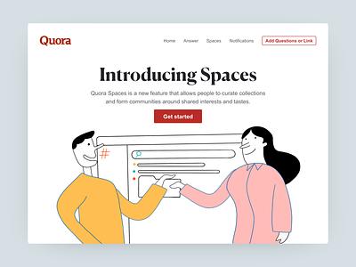 Quora Spaces graphic ux story telling branding ux  ui illustration quora marketing webdesign