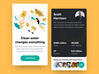 Charity:water Mobile App Concept illustration charitywater branding ux ui onboarding illustration onboarding mobile app