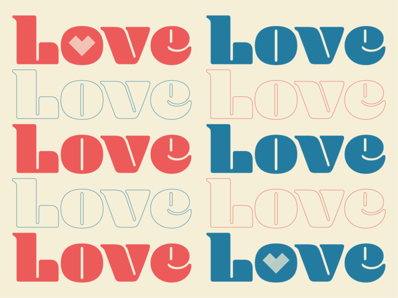 Love Typography Design Concept celebration playoff colorscheme colors blue red hearts heart love dribbble shapes simple illustration typography graphic logo designer photoshop illustrator design