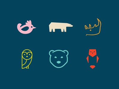 Animals Logo Design Concepts in Color owl rhino bear chicken character animal animals logo animals product design productdesign product ux uiux ui illustration graphic designer logo illustrator design