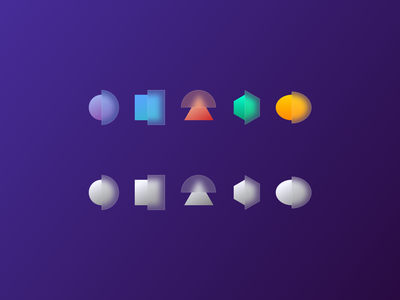 Simple Geometric Glass Icons Concept Design in Color yellow blue designer white colors color geometric sketchapp uiux ux ui icon set iconset icon icons logo design product figma sketch
