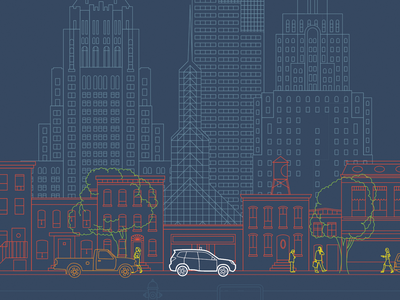 Portland / Detroit Trade Show Background branding illustration cityscape line art vector