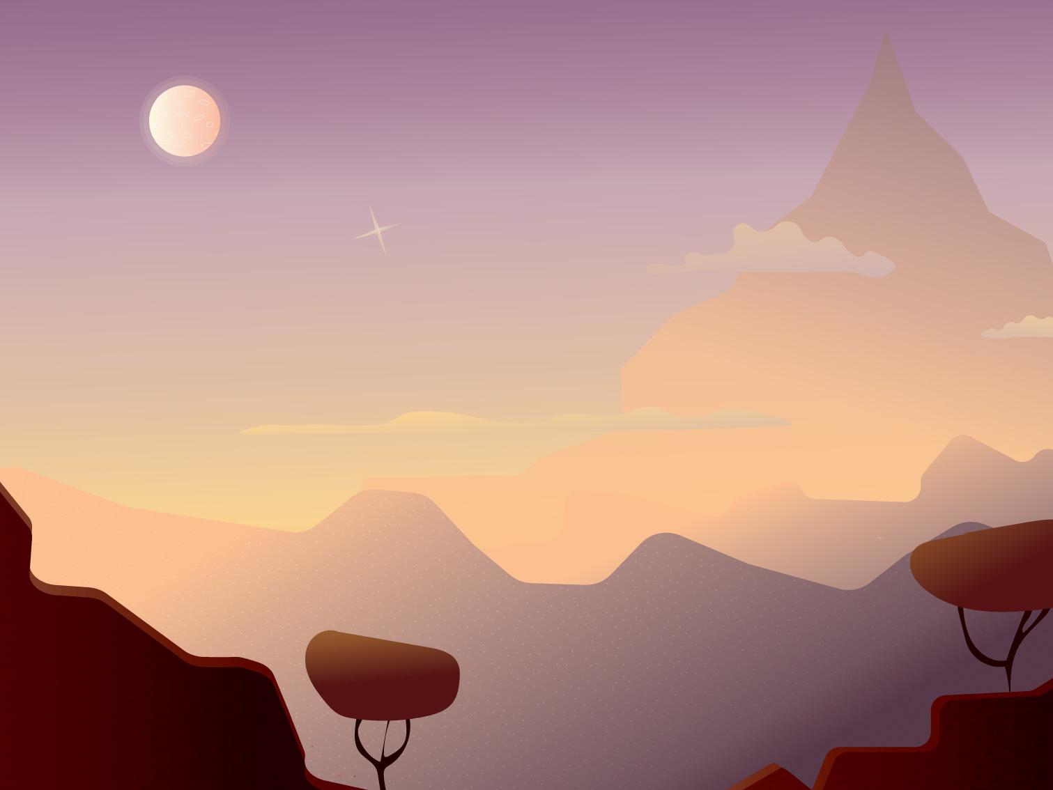 Due North texture graphic game art game concept warm colors earth tones vector 2d art landscape illustration