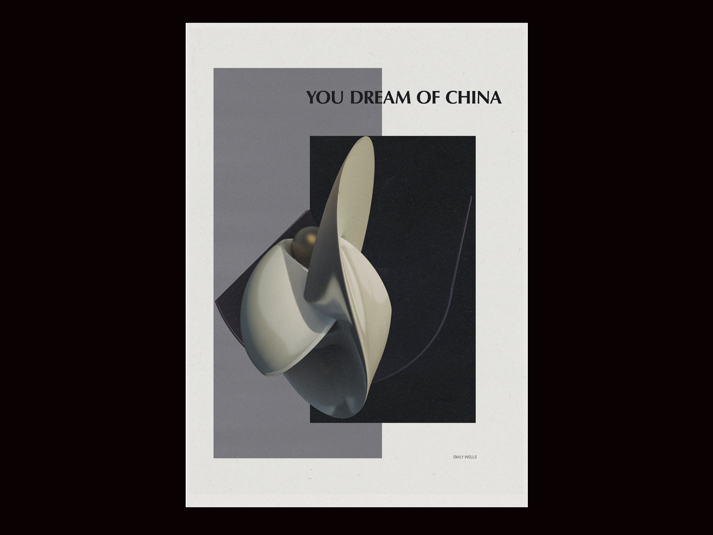 China surrealism contemporary minimal abstract 3d poster