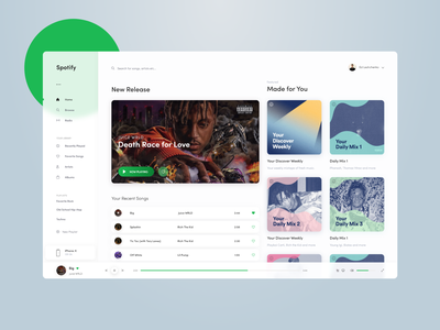 Spotify Redesign Concept player ui music spotify flat typography app ux minimal ui design