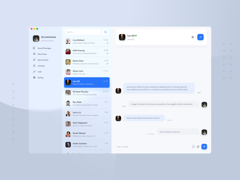 Telegram Messenger Redesign Concept macos messenger telegram redesign minimal design chat app ux ui