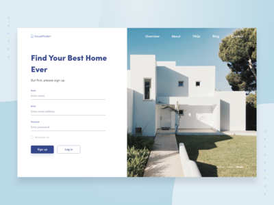 House Search Website Sign Up Concept