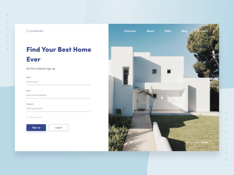 House Search Website Sign Up Concept web design webdesign log in rent search house sign in sign up minimal ux ui design