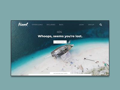 Daily UI Design Challenge #008 - 404 Page travel branding 404page ux ui dailyuichallenge dailyui