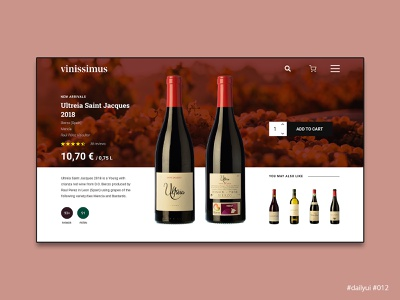 Daily UI Design Challenge #012 - E-Commerce Shop (Single Item) wine store web design ecommerce dailyuichallenge dailyui