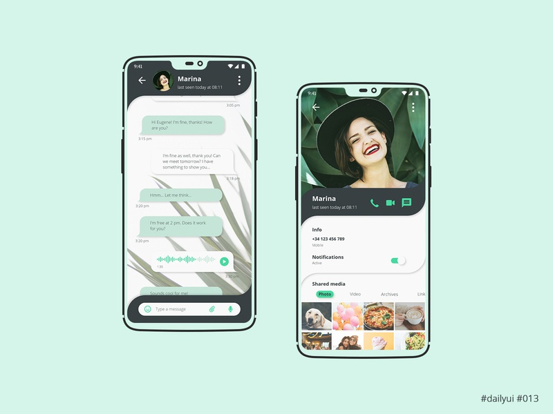 Daily UI Design Challenge #013 - Direct Messaging interface mobile app profile messaging message app ux ui dailyuichallenge dailyui