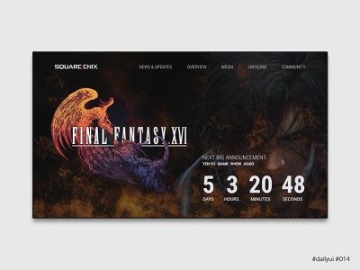Daily UI Design Challenge #014 - Countdown videogame website final fantasy countdown webdesign ux ui dailyuichallenge dailyui