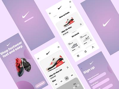 Nike Shop Concept ux branding clean ui flat design app minimal sneakers shop nike