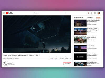 Youtube Web Redesign flat webdesign design branding clean ux ui minimal web youtube