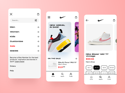 Nike app design flat design ux ui uiux ui designs mobile glass trend 2021 trend app clean minimal ecommerce fashion ui design mobile apps mobile app ios