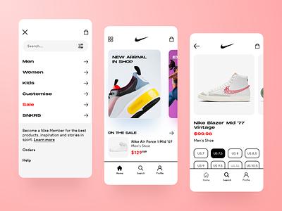 Nike app design flat design ux ui uiux ui designs mobile glass trend 2021 trend app clean minimal ecommerce fashion ui design mobile apps mobile app ios