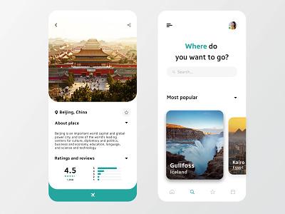 Travel App for Mobile branding illustration travel app travel clean ux flat design ui minimal app