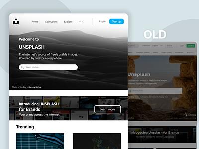 Redesign Of Unsplash website dark mode web clean branding ux dark ui flat design minimal