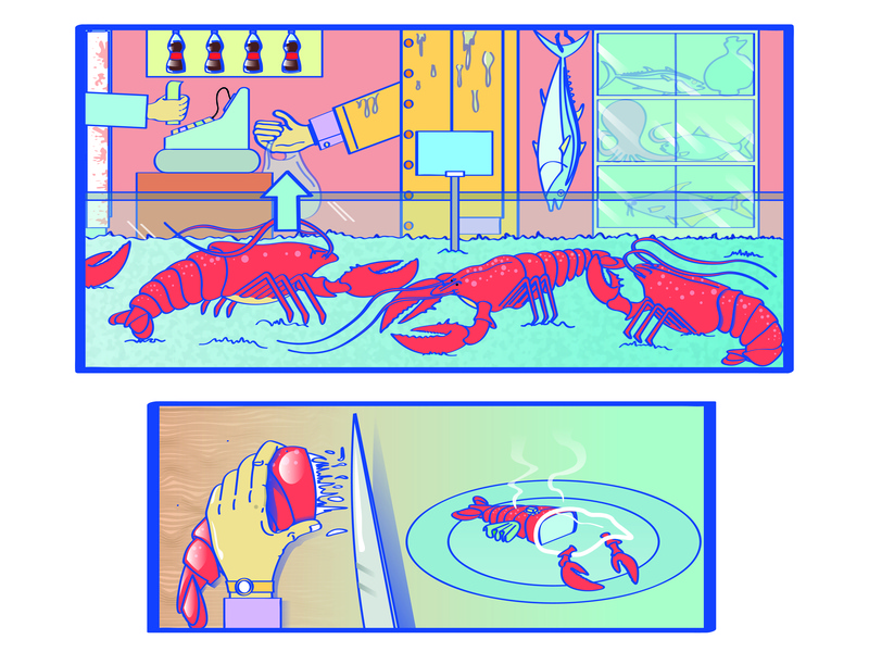 Lobster Dinner tech company gender editoral design health food and drink japanese print japanese food japan lobster illustration vector ui manga food