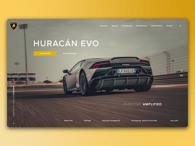 Lamborghini Huracan - Landing Page racing car racing sportscar adobe illustrator minimal branding ux development ui design web design website design lamborghini huracan lamborghini