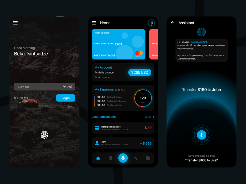 Concept design of Finance app artificial intelligence assistant modern design concept money app money banking bank finance app finance