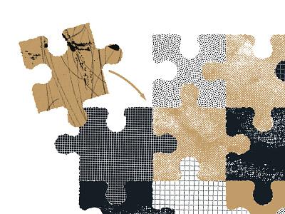 Puzzle Pieces collage design puzzle spot illustration illustration grit texture
