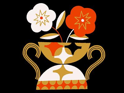 Vessel with Flowers ipad procreate texture design color illustration