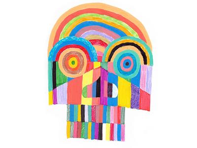 Psychedelic Skull design skull linestyle lines colors sketch sketchbook illustration color