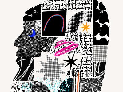 I Contain Multitudes papercut pieces rainbow pride stamp collage texture illustration design color