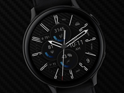 Carbon v4 - Watch Face electronics carbon digital tech smart galaxtwatch illustration wearable tech wearable watchface watch technology smartwatch samsung graphic design gears3 galaxy watch design classic active