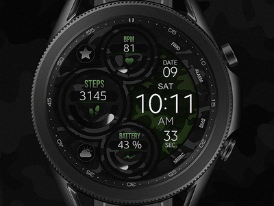 Dream 46 - Camo Watch Face electronics screen digital tech smart galaxtwatch illustration wearable tech wearable watchface watch technology smartwatch samsung graphic design gears3 galaxy watch design classic active