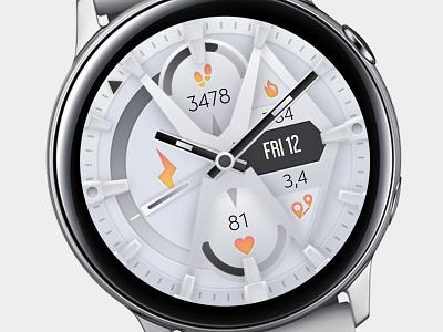 White Watch Face galaxywatch3 electronics tech smart illustration wearable watchface watch technology smartwatch samsung graphic design galaxy watch design modern ui white