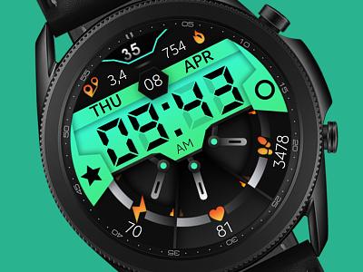 Green Watch Face galaxywatch3 electronics tech smart illustration wearable watchface watch technology smartwatch samsung graphic design galaxy watch design modern ui green