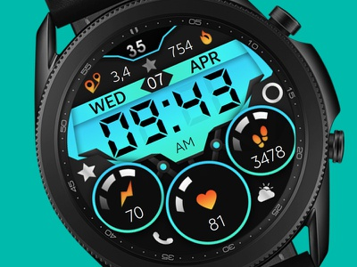 Colorful Watch Face galaxywatch3 electronics tech smart illustration wearable watchface watch technology smartwatch samsung graphic design galaxy watch design colorful modern ui